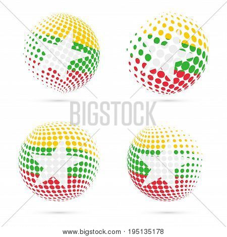 Myanmar Halftone Flag Set Patriotic Vector Design. 3D Halftone Sphere In Myanmar National Flag Color