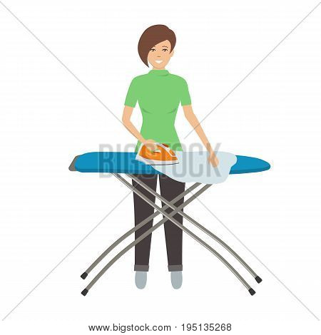 Young woman ironing clothes on ironing board. Vector flat illustration.