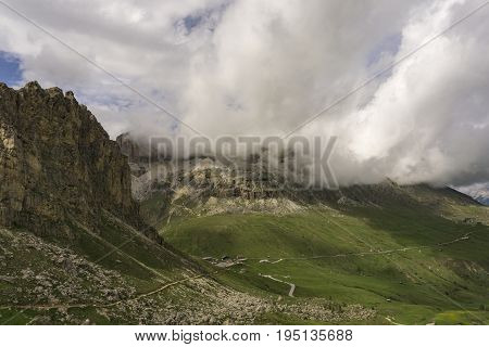 Great view of Passo Pordoi. Dolomites. Italy.