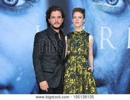 Kit Harington and Rose Leslie at the HBO's 'Game Of Thrones' Season 7 premiere held at the Walt Disney Concert Hall in Los Angeles, USA on July 12, 2017.