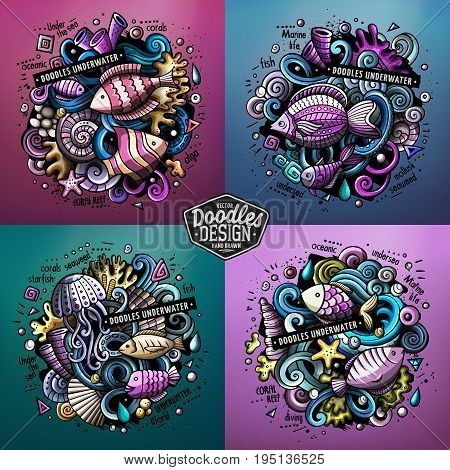 Underwater life cartoon vector doodle illustration. Colorful detailed designs with lot of objects and symbols. 4 composition set. All elements separate