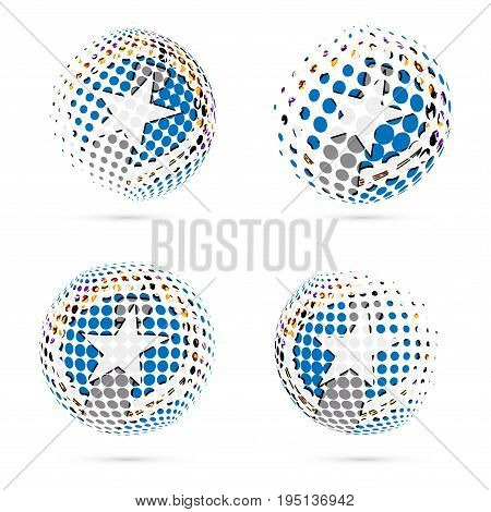 Northern Mariana Islands Halftone Flag Set Patriotic Vector Design. 3D Halftone Sphere In Northern M