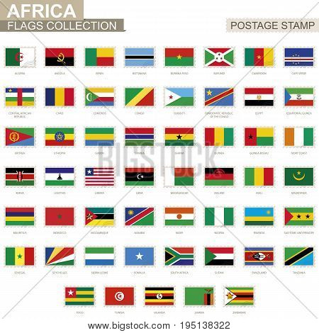 Postage Stamp With Africa Flags. Set Of 53 African Flag.