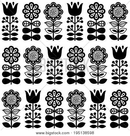 Finnish inspired seamless folk art pattern in black - Scandinavian, Nordic style