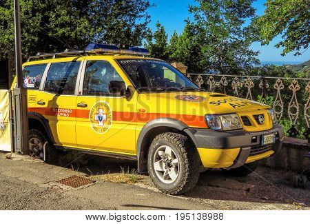 San Leo Italy - June 18 2017: Emergency rescue car (Soccorso Alpino) in San Leo Italy