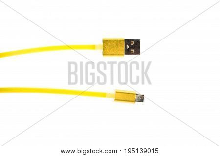 Two Yellow Connectors Of Micro Usb Cable On White Isolated Background. Horizontal Frame