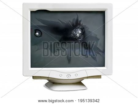 Broken shot bullets CRT computer monitor isolated on white