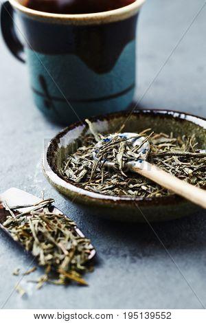 Sencha Green Tea on a ceramic plate