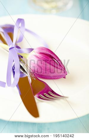 Place Setting with Pink Tulip