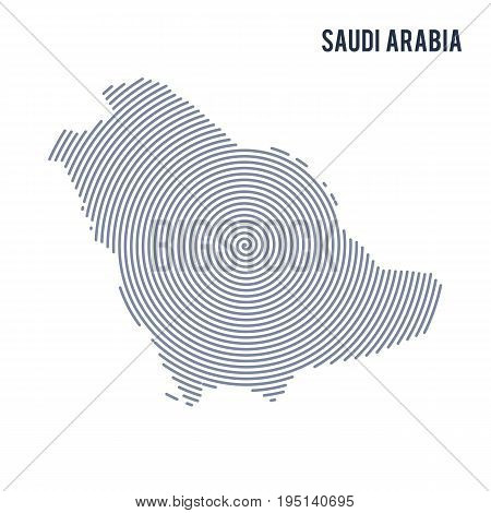 Vector Abstract Hatched Map Of Saudi Arabia With Spiral Lines Isolated On A White Background.