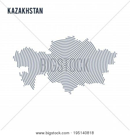 Vector Abstract Hatched Map Of Kazakhstan With Spiral Lines Isolated On A White Background.