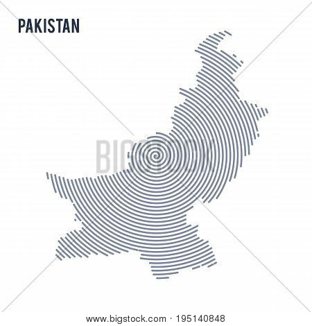 Vector Abstract Hatched Map Of Pakistan With Spiral Lines Isolated On A White Background.