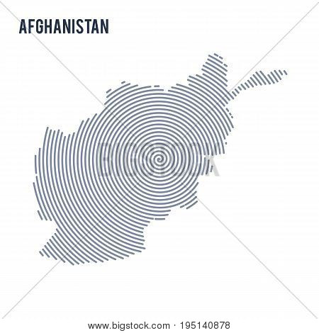 Vector Abstract Hatched Map Of Afghanistan With Spiral Lines Isolated On A White Background.