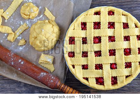Uncooked Cherry Pie In Baking Dish