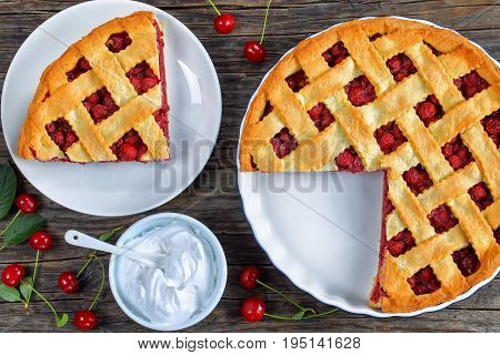 Slice Of Homemade Sour Cherry Pie