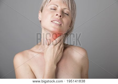 Throat Pain. Beautiful Woman Having Sore Throat, Feeling Sick. Unhappy Ill Female Suffering From Painful Swallowing, Strong Pain In Throat, Holding Hand On Her Neck. Health Concept. High Resolution.