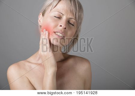 Teeth Problem. Woman Feeling Tooth Pain. Closeup Of Beautiful Sad Girl Suffering From Strong Tooth Pain. Attractive Female Feeling Painful Toothache. Dental Health And Care Concept. High Resolution.