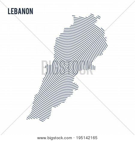 Vector Abstract Hatched Map Of Lebanon With Spiral Lines Isolated On A White Background.