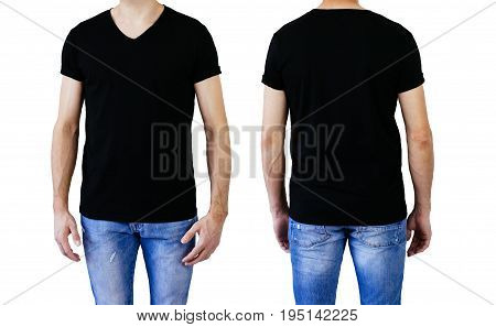 Shirt design and people concept - closeup of young man in blank V-neck short sleeve black tshirt front and rear isolated. Mock up template for design print