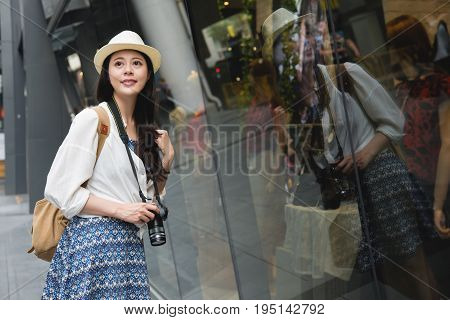 Shopping Woman Happy And Looking Away