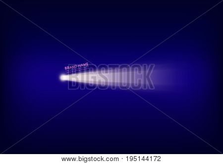 Vector illustration, abstract purple banner with spotlight, flashlight, light beam, ray of light. Design element for advertising poster
