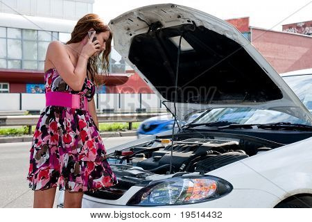 Young woman and car
