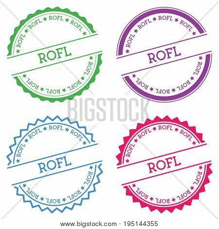 Rofl Badge Isolated On White Background. Flat Style Round Label With Text. Circular Emblem Vector Il
