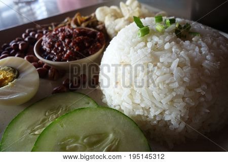 Nasi Lemak, A Traditional Malay Curry Paste Rice Dish