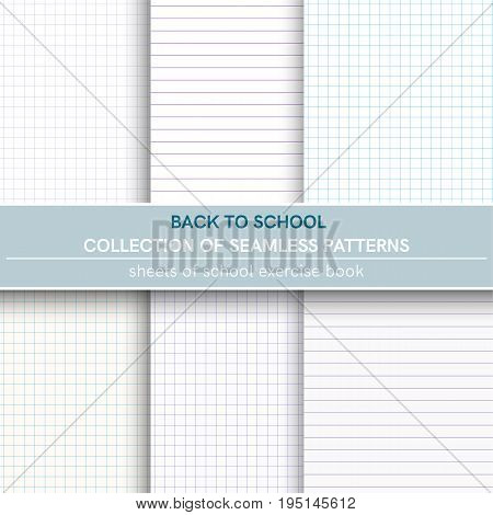 Collection of seamless pattern of sheets of notebook. Book in a line, book in a cage.Seamless pattern included in swatch panel.Vector background.