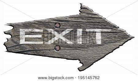 sign from old wood with scalloped edges and two nails. the sign is a white sign: exit