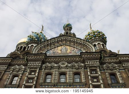 Majestic views of the Church of the Saviour on Spilled Blood. Saint-Petersburg, Russia