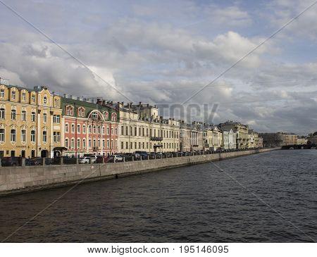 Beautiful promenade along Nevsky Prospekt. The center of St. Petersburg, Russia