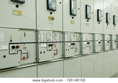 Switchgear in the electrical room. Substation control and automation.