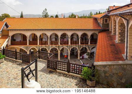 CYPRUS PAPHOS- SEPTEMBER 21 2016: courtyard in the famous Kykkos monastery.