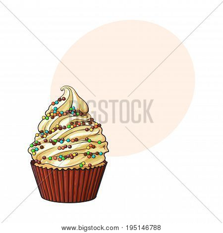 Hand drawn cupcake with perfect cream swirls and colorful sprinkles, sketch style vector illustration with space for text. Realistic hand drawing of cupcake with cream and sprinkles