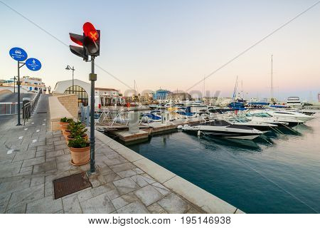 CYPRUS LIMASSOL - SEPTEMBER 22 2016: View of the Limassol Old Port at sunset.