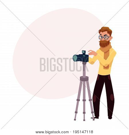 Photographer taking pictures, shooting in studio, using digital camera and tripod, cartoon vector illustration with space for text. Full length portrait of professional photographer working in studio