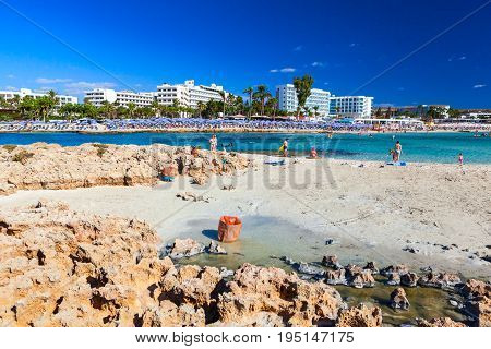 CYPRUS AYIA NAPA - SEPTEMBER 24 2016: Famous Nissi beach.