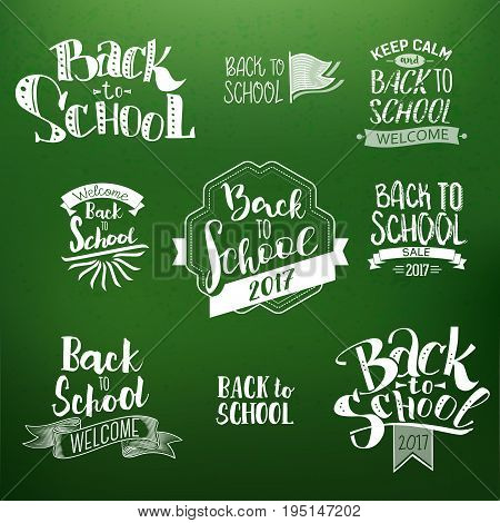 Back to School Calligraphic Designs Label set On Chalkboard. Retro Style Elements. Chalk lettering Back to School. Vintage Style Hot Deals Design Layout In Vector. Logo Lettering.