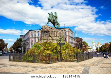 KIEV UKRAINE - SEPTEMBER 18 2016: Monument to Bogdan Khmelnitsky on Sofia square. Kyiv Ukraine.