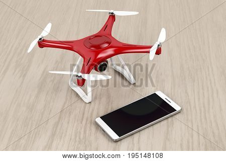 Unmanned aerial vehicle (drone) and smartphone with blank display, 3D illustration