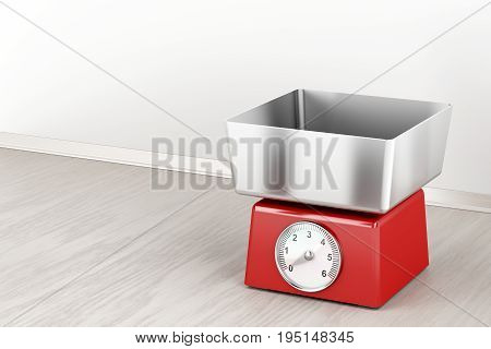 Mechanical weight scale in the kitchen, 3D illustration