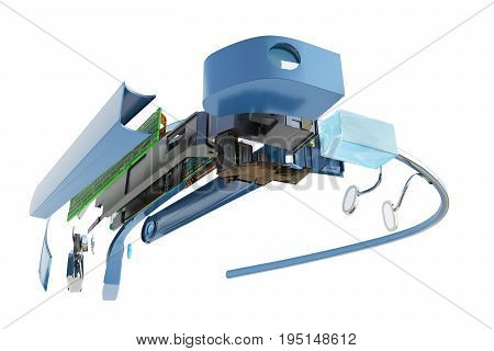 Interactive Glasses Disassemble In Parts 3D Render On White Background