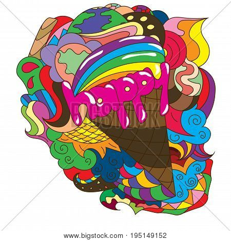 Abstract drawing with text ice cream in a waffle cone 10eps