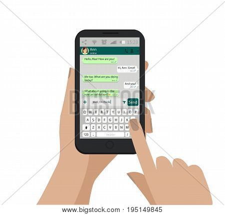 Hand Holding Smartphone, Touching Screen And Write Message In Social Network. Vector.