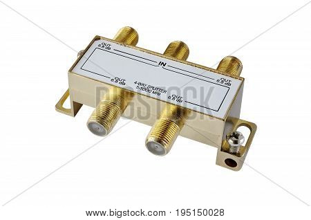 4-way splitter aerial input of the TV on a white background