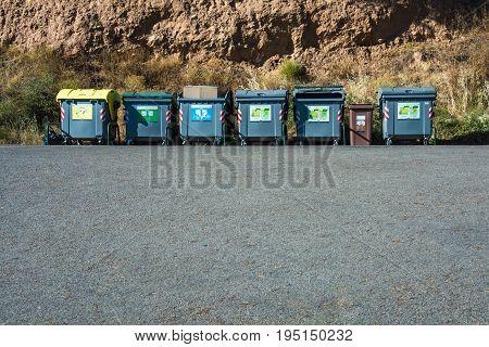 Public rubbish and recycle bins in Estartit Catalonia