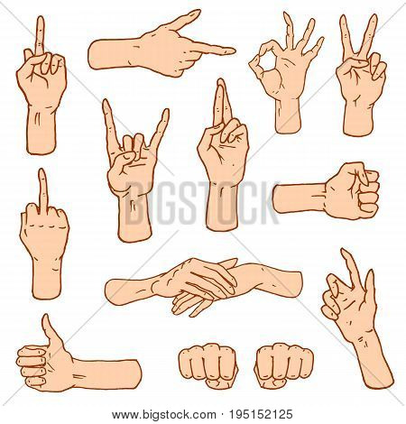 Gestures arms stop, palm, thumbs up, finger pointer, ok, like and pray or handshake, fist and peace or rock n roll. engraved hand drawn in old sketch style, vintage collection of emotion and signs