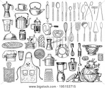 Apron or pinaphora and Hood, rolling pin and saucepan or corolla, wooden board. Chef and dirty kitchen utensils, cooking stuff for menu decoration. engraved hand drawn in old sketch and vintage style