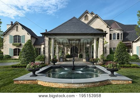 Luxurious expensive mansion exterior with pool and fountain in front yard and Portico Entrance, rich success